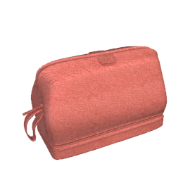 Large Leather Wash Bag, Red
