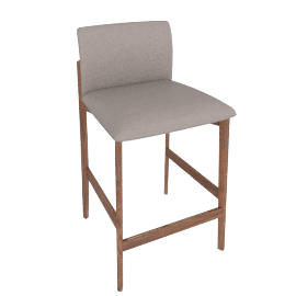 Contour Counter Stool, Kalahari Leather Grey with Walnut Leg