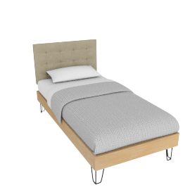 Brunel Bed Single, Fabric Headboard Wheat Beige