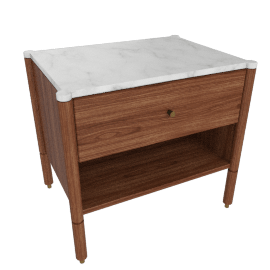 Morrison Bedside Table, Walnut with Carrara