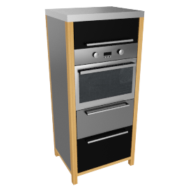 Single Oven Freestanding Kitchen Unit, Black