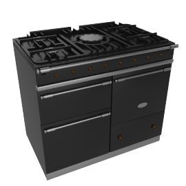 Lacanche Macon LG1053GECTBKA Dual Fuel Cooker, Black / Brass Trim