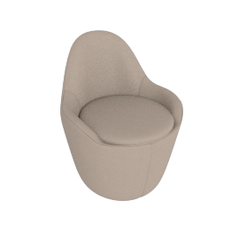 Lina Swivel Dining Side Chair, Leather - Grey