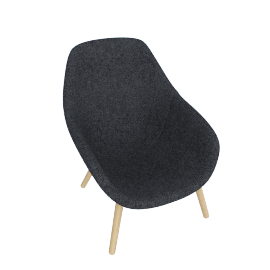 About A Lounge 92 Armchair, High Back, Divina Melange 170 Dark Grey / Oak