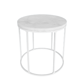 Marble Wire Small Table, White