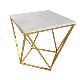 Lunar End Table - White/Gold