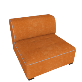 Caris Armless Sofa, Orange