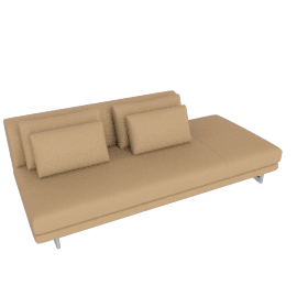 Lecco Open Sofa Right, Kalahari Leather - Sand with Aluminum Base