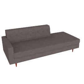 Bantam Studio Sofa, Left in Basket Fabric - Grey.Walnut