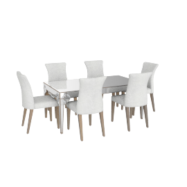 Mystique 1+6 Dining Set -Silver /Antique Gold