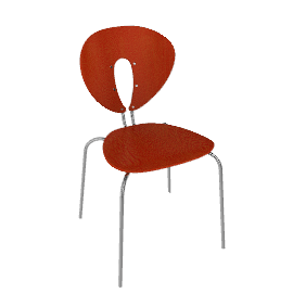 Globus Chair In Wood With Chrome Frame - Orange