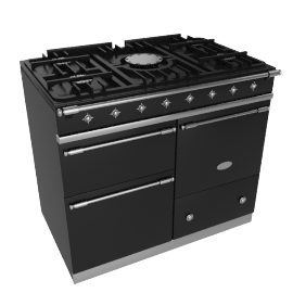 Lacanche Macon LG1053GECTBKCHA Dual Fuel Cooker, Black / Chrome Trim