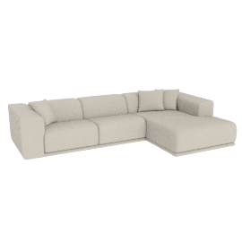 Kelston Sectional with Chaise, Leather: Gesso