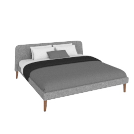 Parallel Cal. King Bed in Fabric, Walnut