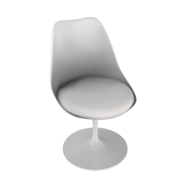 Saarinen Tulip Armless Chair - Vinyl - White.White