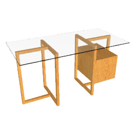 Staten Small Glass Desk with Oak Trestle and Drawer Pack