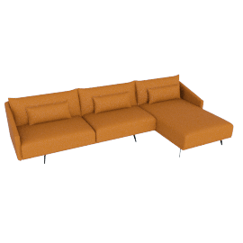 Costura Sectional with Chaise, Elmo Baltique Leather - Saddle