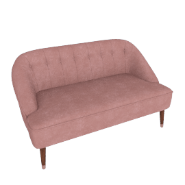 Margot 2 Seater Sofa, Old Rose Velvet