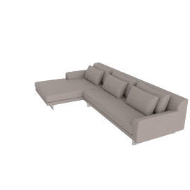 Lecco Sectional with Chaise, Kalahari Leather - Grey with Aluminum Base