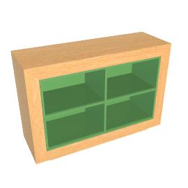 Moritz Open Storage Unit, White Oak and Mint Green