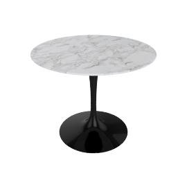 Saarinen Round Dining Table 35'', Calacatta - Blk.Calacatta