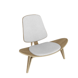 Shell Chair, oak/ivory leather