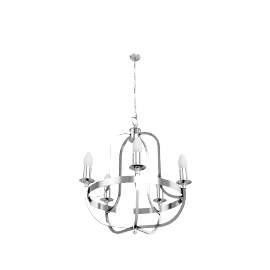 Warwick Ceiling Light, Nickel, 5 Arm