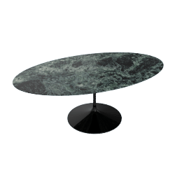 Saarinen Oval Dining Table 78'', Coated Marble 2 - Blk.VerdeAlpi