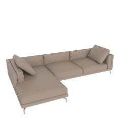 Como Sectional LF Chaise, Kalahari Leather, Grey