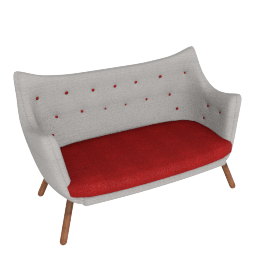 Poet Sofa - Fabric A - Grey.Red