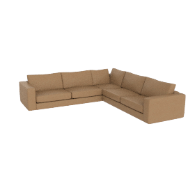 Reid Corner Sectional in Leather, Clay