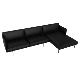 Outline Sectional with Right Facing Chaise, Prescott Leather - Black