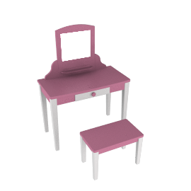 Vanity Table and Stool, Pink