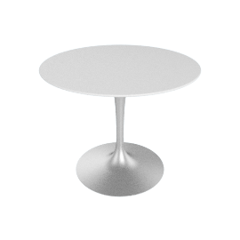 Saarinen Round Dining Table 35'', Laminate - Platinum.White