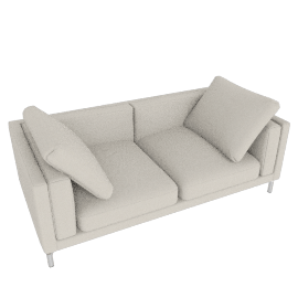 "Como 80"" Sofa in Leather, Gesso"