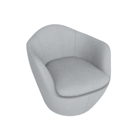 Lina Swivel Chair, Maharam fabric - Surf
