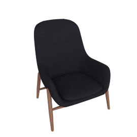 Nora Lounge Chair, Pecora - Dark Navy with Walnut