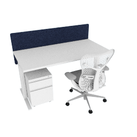 Ergonomic Standard Bundle, White Frame, Heathered Navy Screen