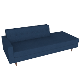 Bantam Studio Sofa, Left in Basket Fabric - Navy.Walnut