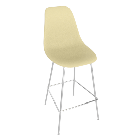 Eames Molded Plastic Barstool, DSHBX, Pale Yellow with Chrome Base