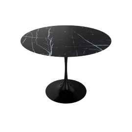 Saarinen Round Dining Table, Nero Marquina Top Black Base