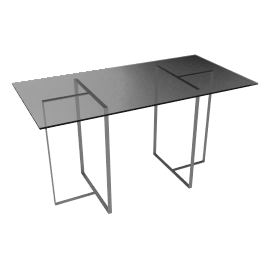 John Lewis Staten 140 Clear Glass Top Desk with Steel Trestles