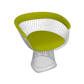 Platner Armchair, Nickel frame and Knoll Boucle - Chartreuse
