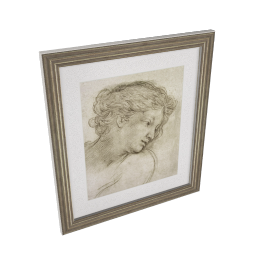 Pietro Berrettini da Cortona - Study of a Head of a Girl Framed Print, 56 x 50cm
