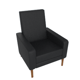 Flight Recliner, Kalahari Black Leather/Walnut Base