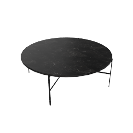 Outline Round Coffee Table, Black Base Nero Marquina Top