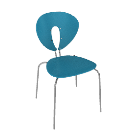 Globus Chair in Wood with Chrome Frame - Sea