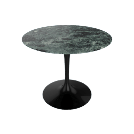 Saarinen Round Dining Table 35'', Coated Marble 2 - Blk.VerdeAlpi