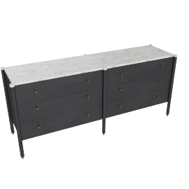 Morrison Wide Dresser, Ebonized Black with Carrara