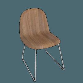Gubi Chair with Chrome Base and Walnut Shell - Walnut